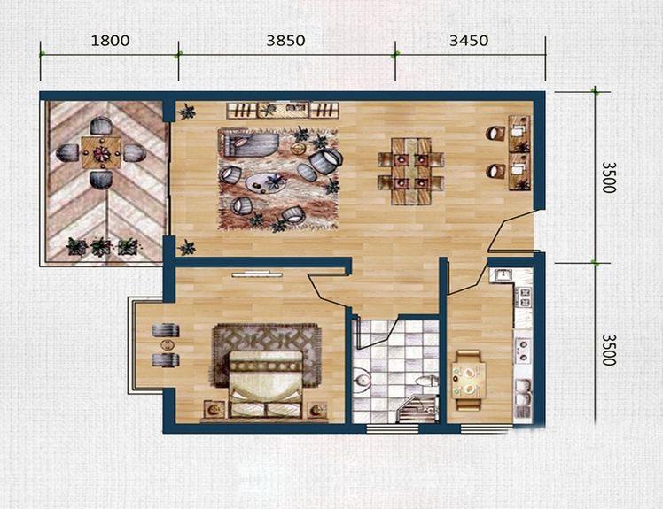 龙沐湾1号海景公馆E户型 1室2厅1卫1厨 建筑面积:60.00㎡
