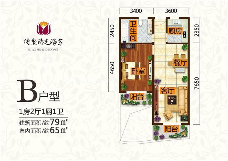 博鳌阳光海岸阳光海岸B户型1室2厅1厨79平方米