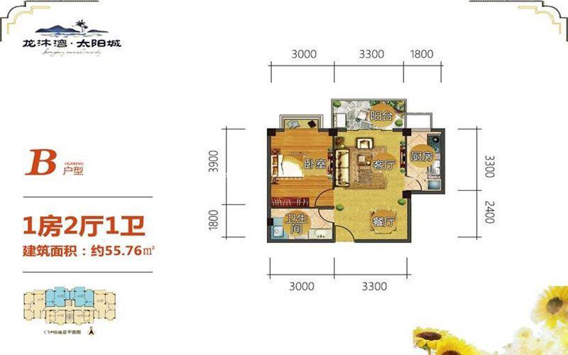 龙沐湾太阳城B户型 1房2厅1厨1卫 建筑面积:55.76㎡
