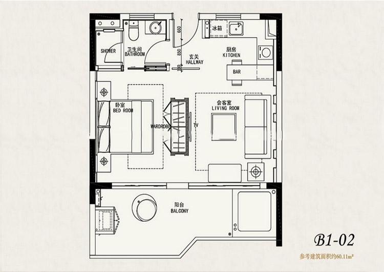 鹏欣白金湾鹏欣白金湾B1-02户型1室2厅60平方米