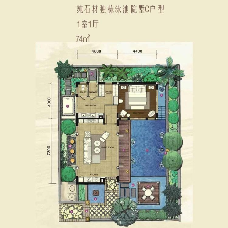 红磡香水湾天海独栋院墅C户型1室1厅74平方米