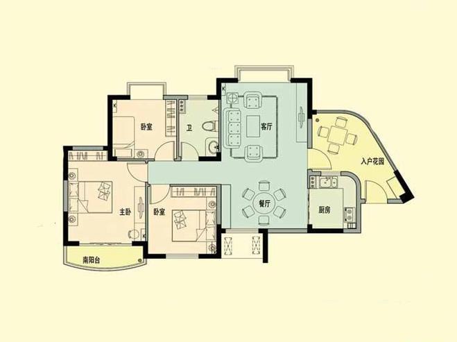 官塘世家官塘世家D2-3户型图 3室2厅  建筑面积104.29㎡