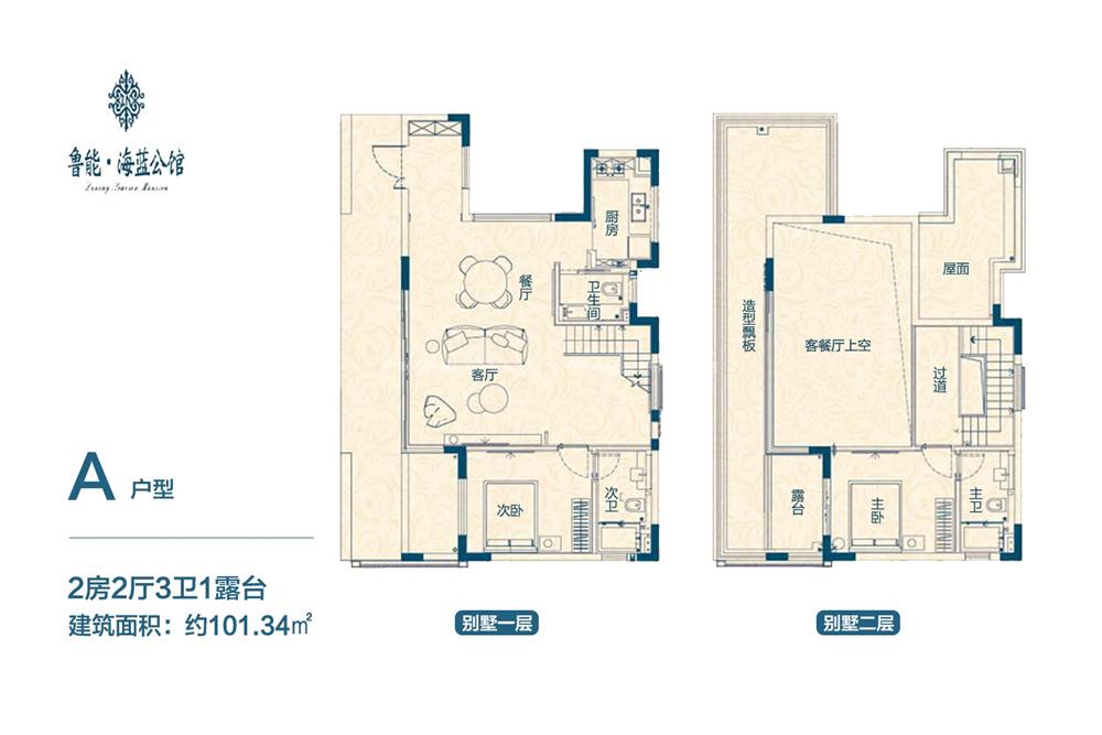 鲁能海蓝公馆别墅A户型 2房2厅1厨3卫 101.34㎡