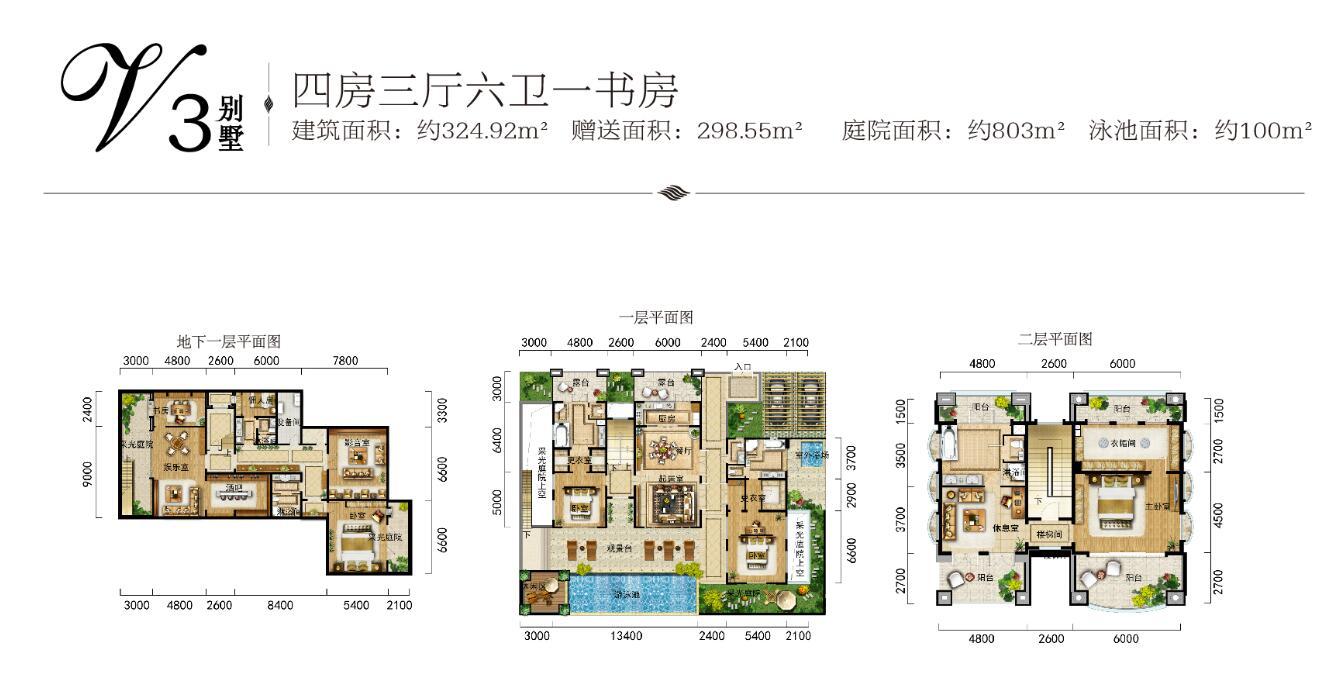 金泰南燕湾V3别墅户型4房3厅6卫1书房建筑面积324.92㎡