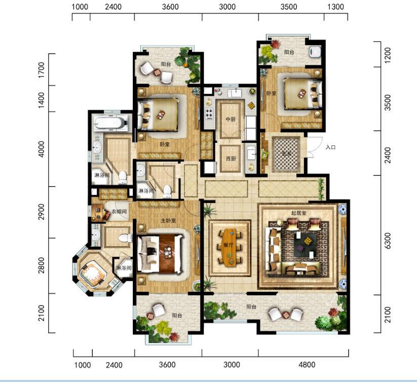 金泰南燕湾洋房A3-1户型3房2厅3卫建筑面积165㎡