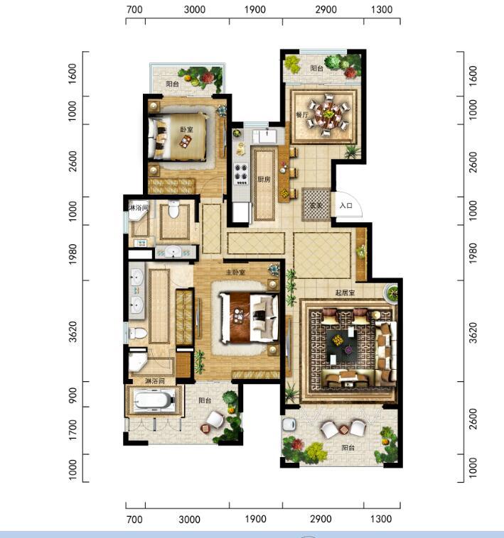 金泰南燕湾洋房A2-1户型 2房2厅2卫113平米