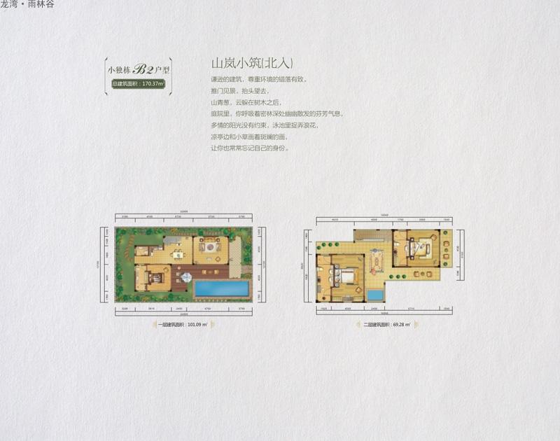龙湾雨林谷小独栋B2户型图 3室3厅1卫1厨  建筑面积:170.37㎡