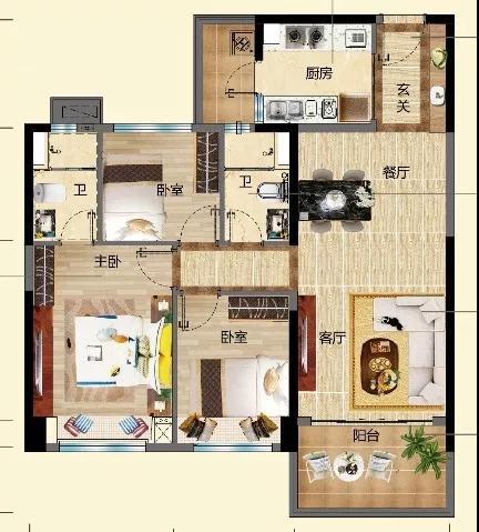 碧桂园金沙滩栖海洋房 三室两厅两卫 建面约104㎡