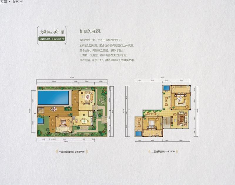 龙湾雨林谷大独栋A户型图 3室3厅3卫1厨  建筑面积:236.84㎡