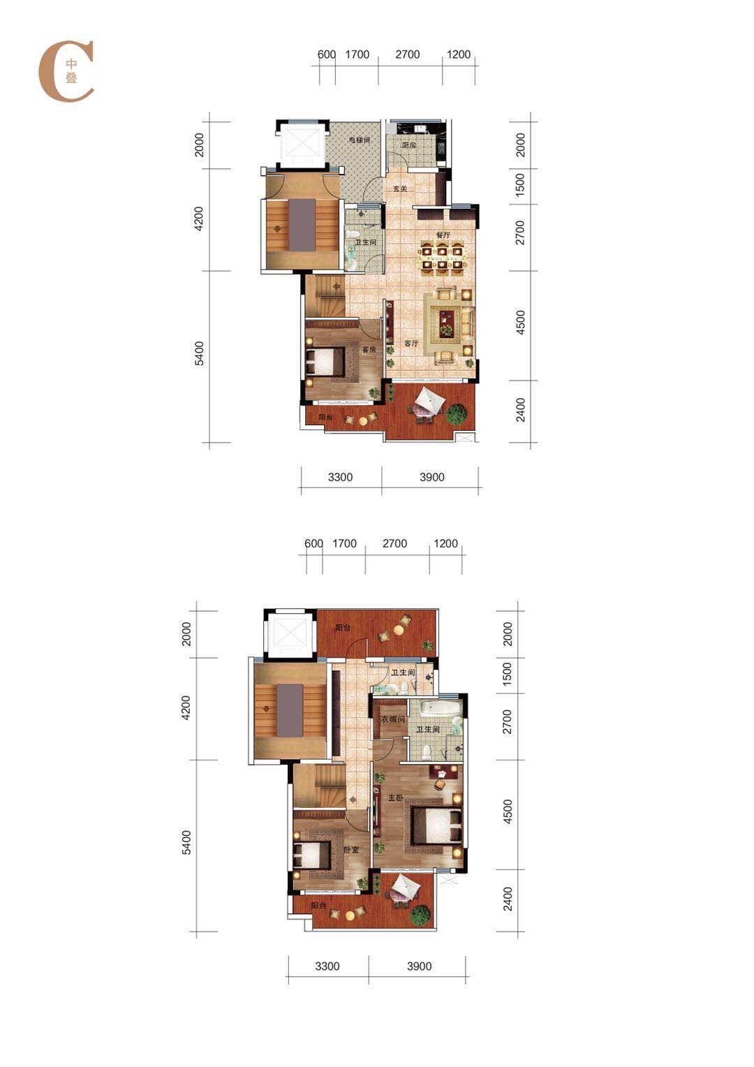 海南怡海湾C1:叠拼别墅户型(中叠)3室3卫建筑面积160㎡