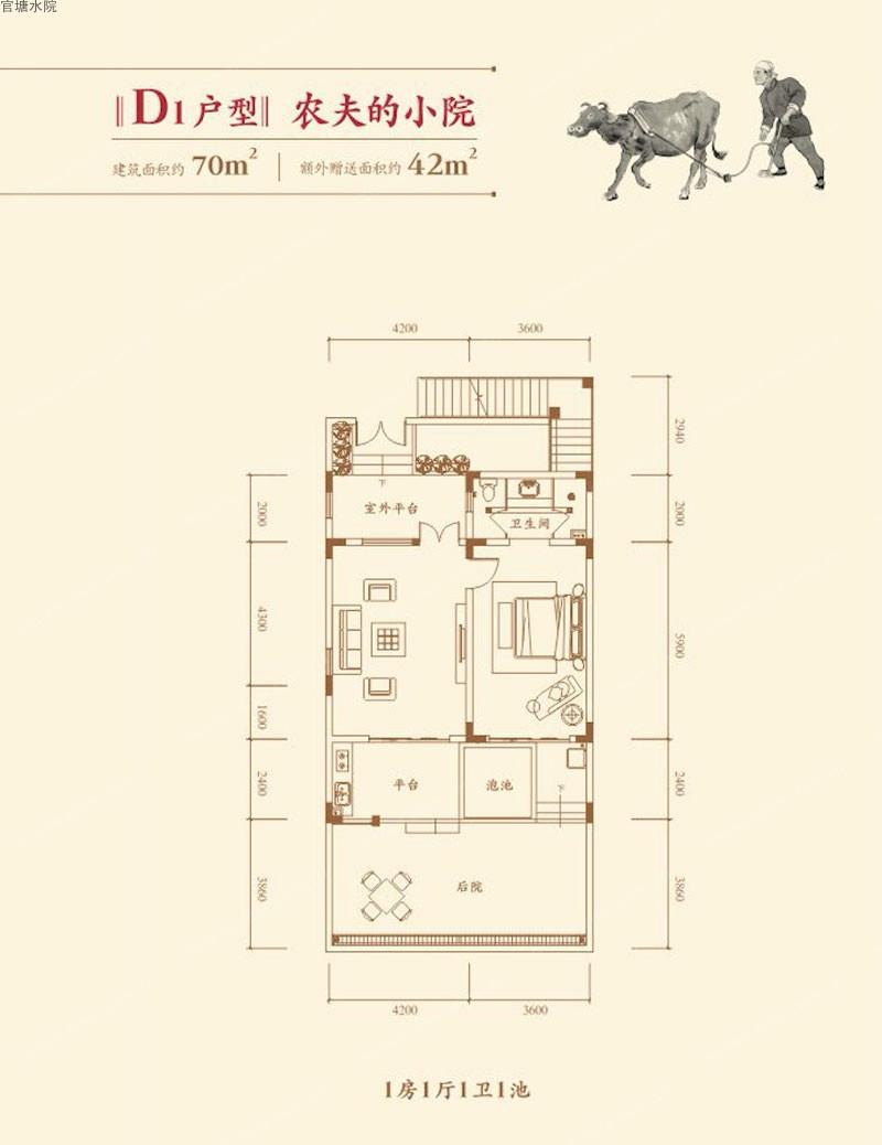 官塘水院D1户型  1室1厅1卫   建筑面积70.00㎡