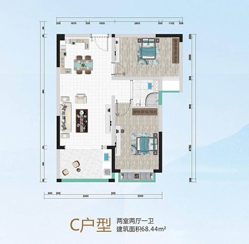 华信广场C户型   两房两厅一卫   建筑面积:68.44平