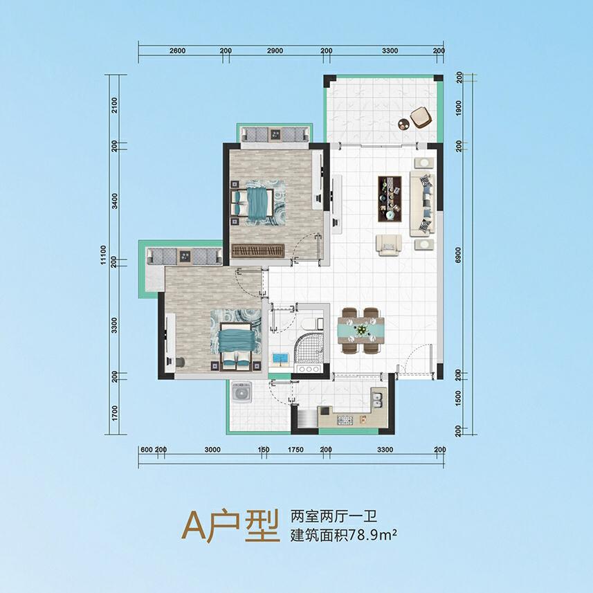 华信广场A户型   两房两厅一卫   建筑面积:78.9平