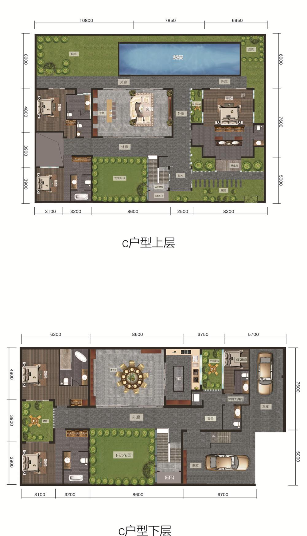 海棠华著C户型建面121.17㎡,五房两厅八卫带工人房+四花园