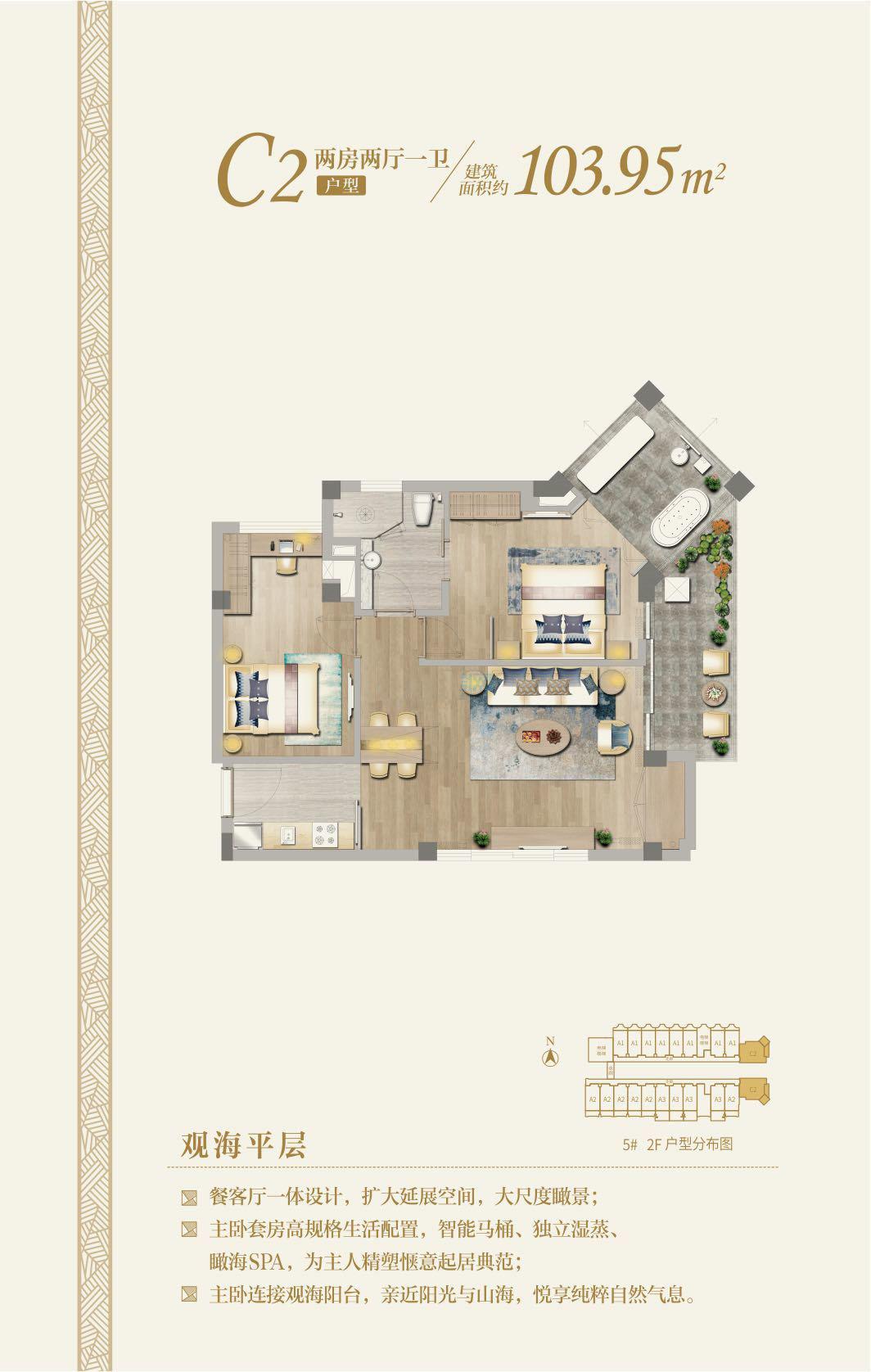 国玺二十五院观海平层C2户型 2房2厅1厨1卫 建筑面积:103.95㎡