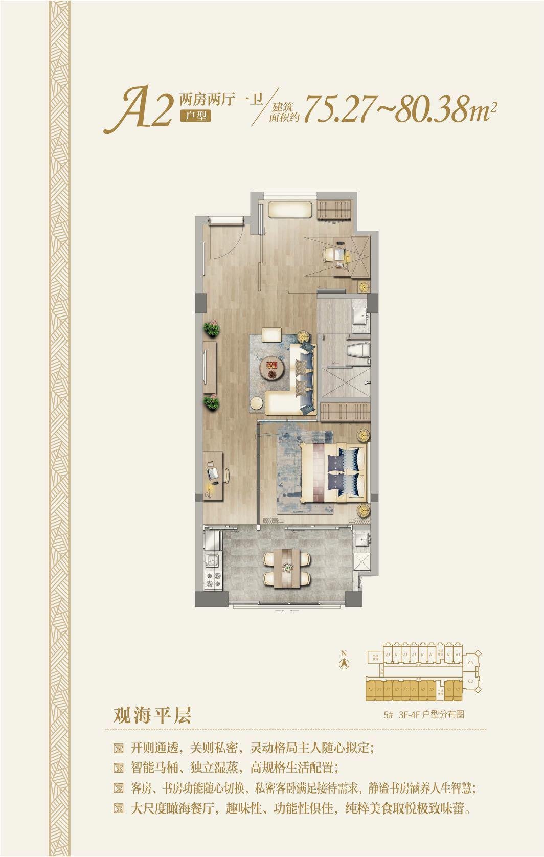 国玺二十五院观海平层A2户型 2房2厅1厨1卫  建筑面积:75.27㎡