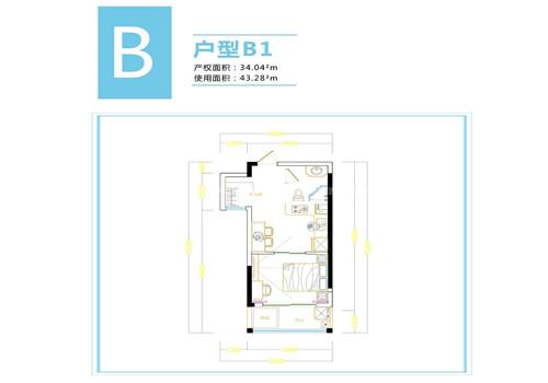 海棠月色1室1厅 建筑面积:43㎡