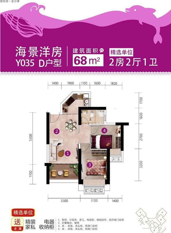 碧桂园金沙滩三期Y035-D户型 2室2厅1卫 68㎡