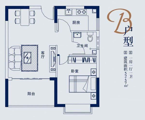 蓝山湖D户型1房1厅1卫1厨建筑面积52.57㎡