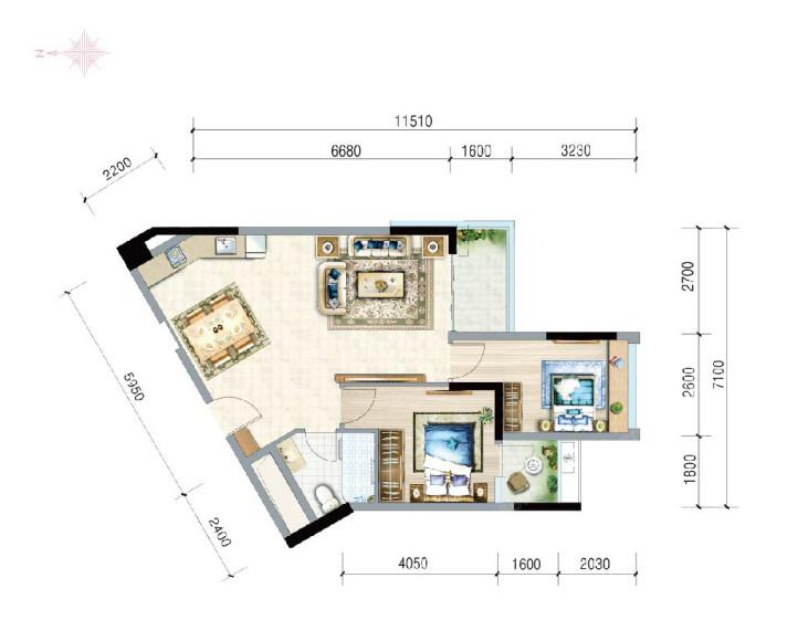富力月亮湾2室2厅1卫建筑面积约79.85㎡