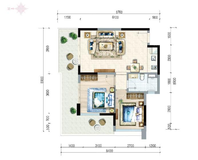 富力月亮湾2室2厅1卫建筑面积约75.86㎡