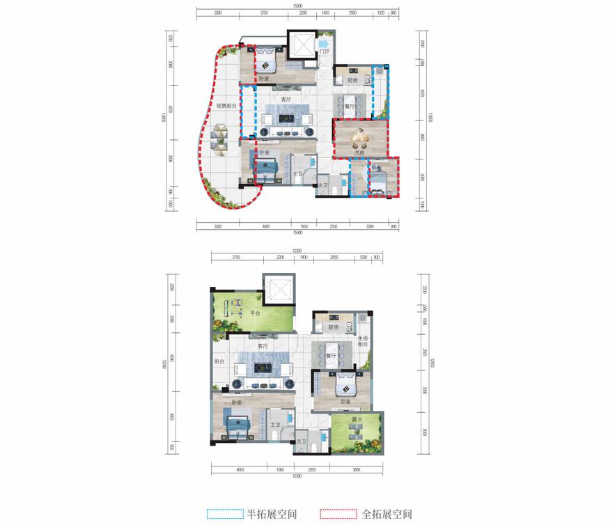 清凤椰林阳光C顶跃户型  六房四厅四卫楼顶花园   建筑面积120.72平