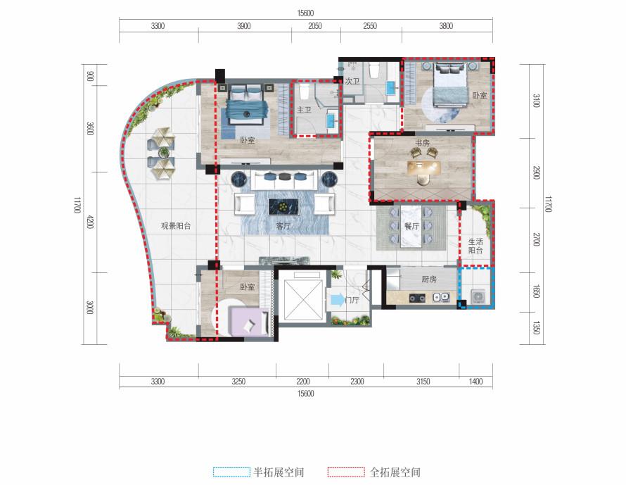 清凤椰林阳光B户型  四房两厅两卫  建筑面积101.62平