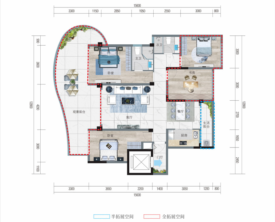 清凤椰林阳光A1户型  四房两厅两卫  建筑面积101.77平