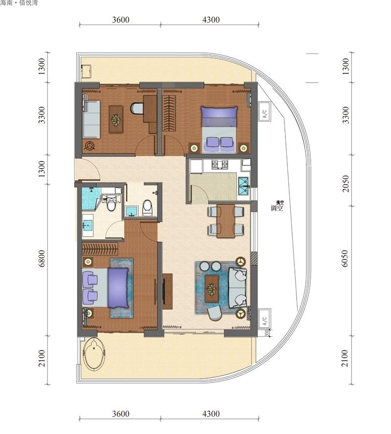 海南佰悦湾3室2厅2卫1厨   建筑面积134.93㎡