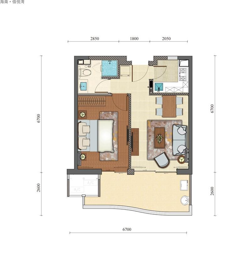 海南佰悦湾1室2厅1卫1厨   建筑面积68.89㎡