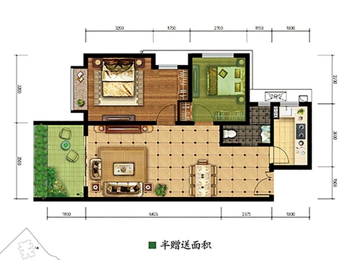 公园88号A户型两房两厅一卫78平