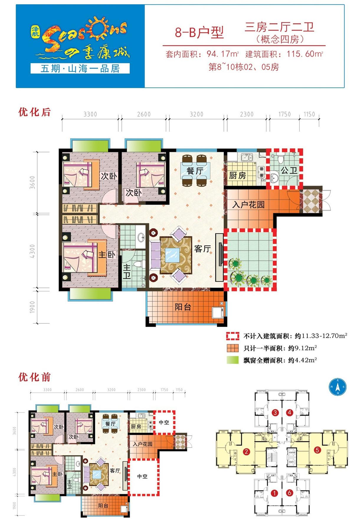 四季康城五期山海一品居8-B户型   三房两厅两卫   建筑面积:115.60平