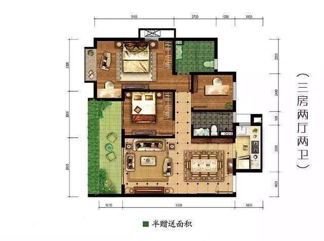 公园88号三房两厅两卫107平