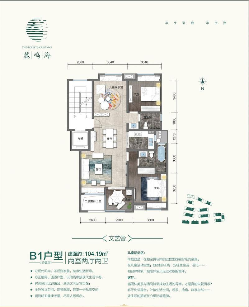 麓鸣海B1户型 104.19平米 两房两厅两卫